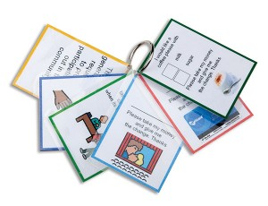 A set of 6 community request cards attached to a ring. Visible on the top are a card for ordering coffee, a card for buying public transport tickets and a card for buying a movie ticket.