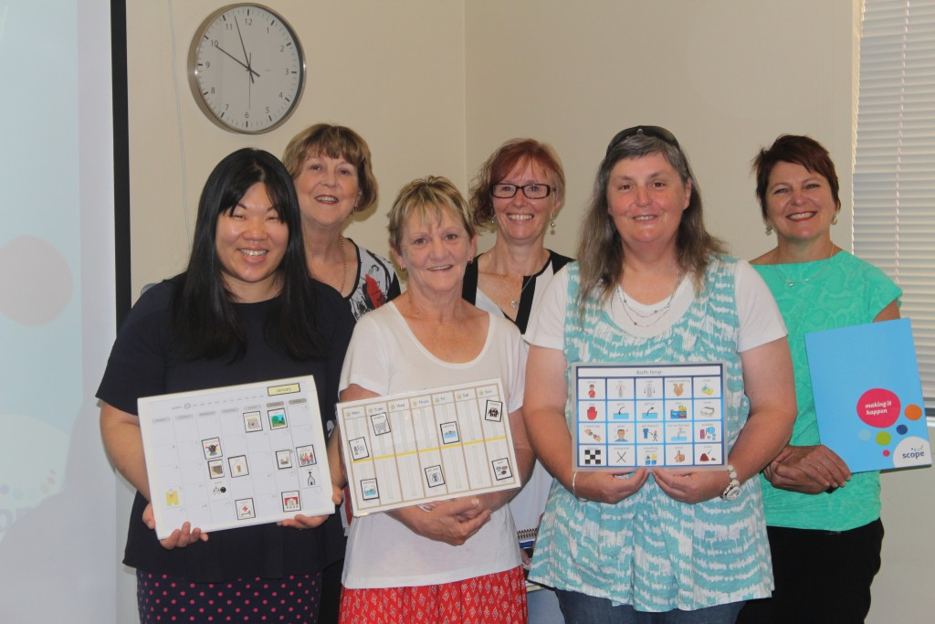 Author Clara Nacaretti with fellow speech pathologists and attendees of the Scope NECAS information session in Swan Hill. Photo: The Guardian