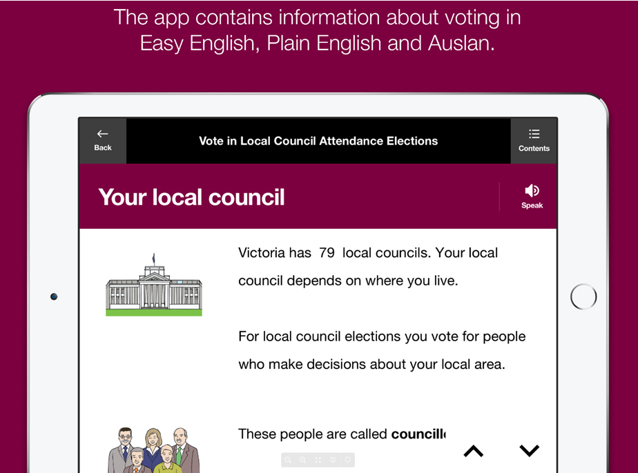 The app contains information about voting in Easy English, Plain English and Auslan