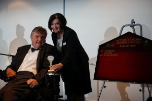 Hall of Fame inductee Russell Burrell with Dr Jennifer Fitzgerald.