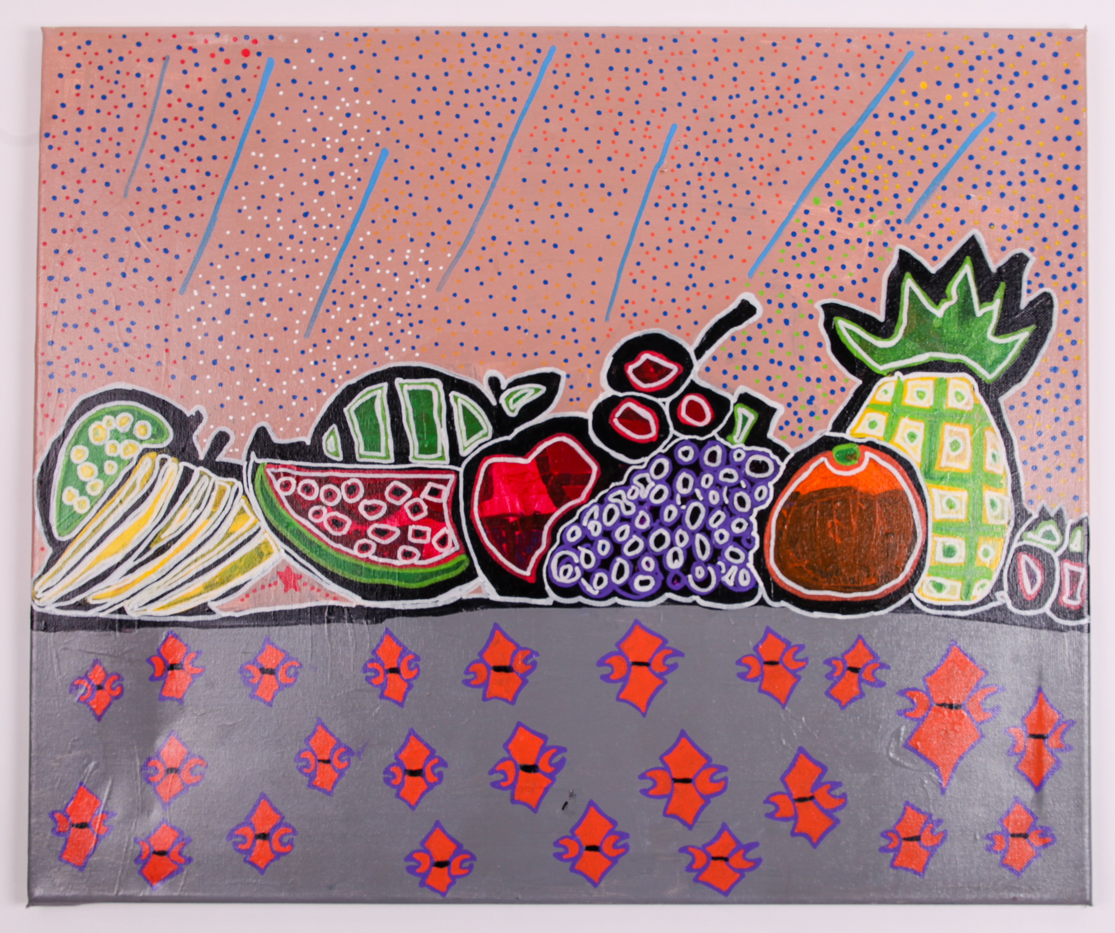 Painting titled Fruit and Flower Symbols by Ibby Ibrahim