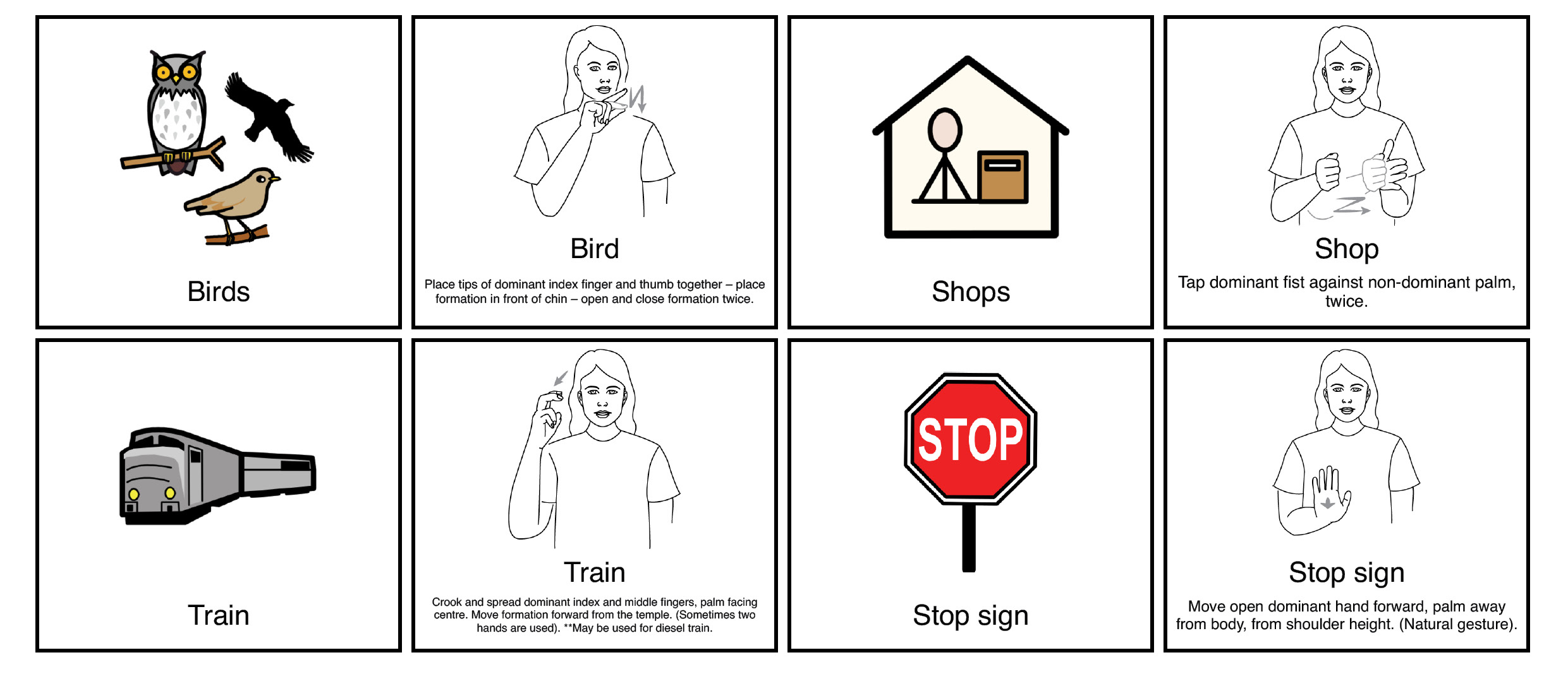 Key word sign board fot bird, train and stop sign