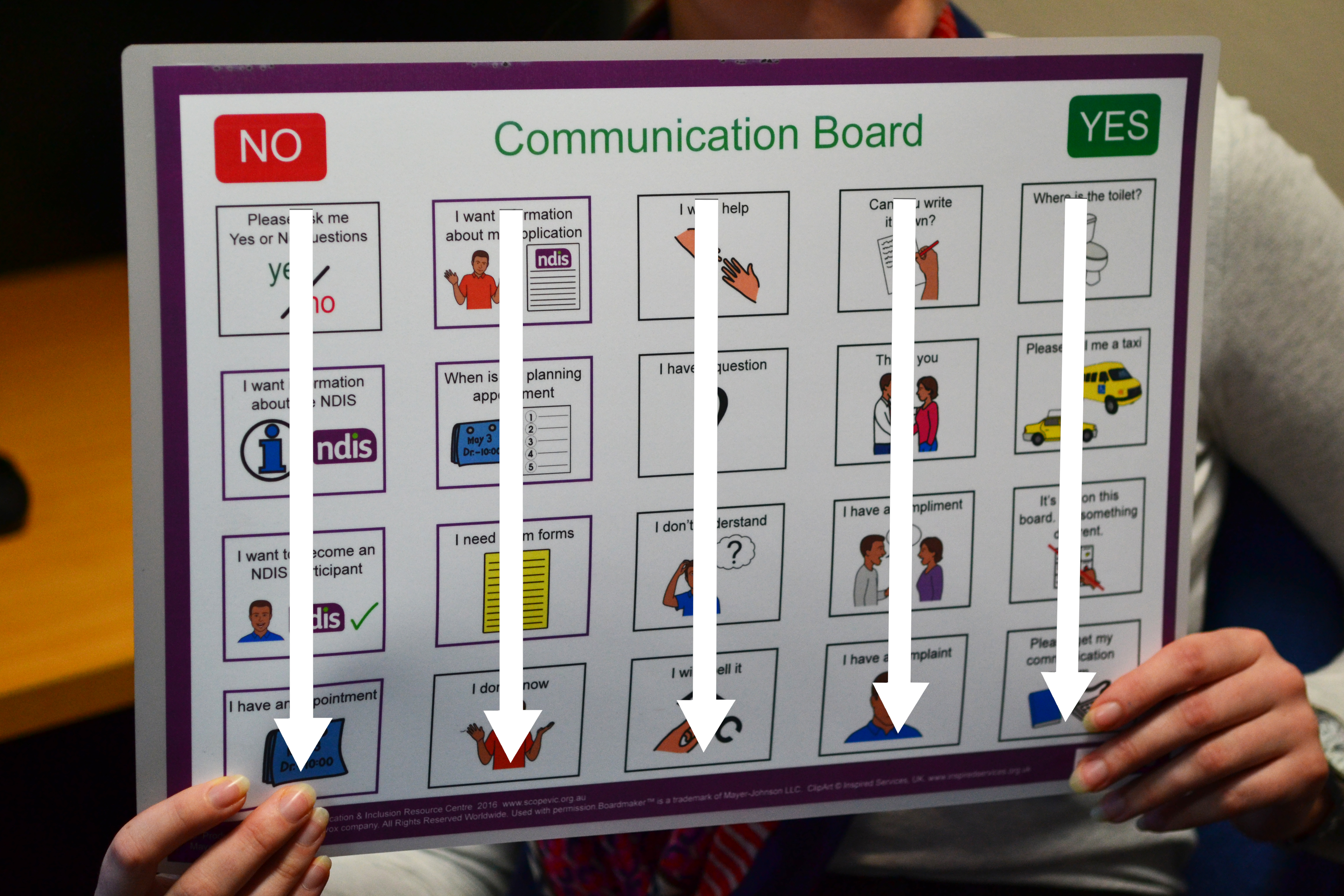 Communication board with arrows pointing down