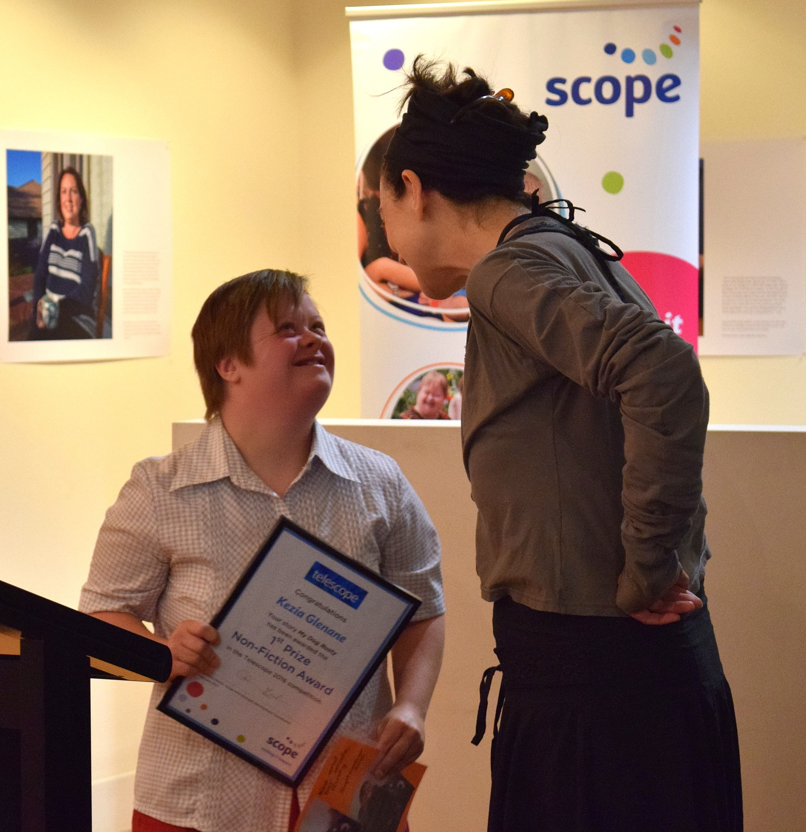 Keziah accepting the prestigious Telescope award