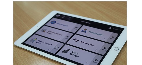 Image of Voters Voice on an ipad