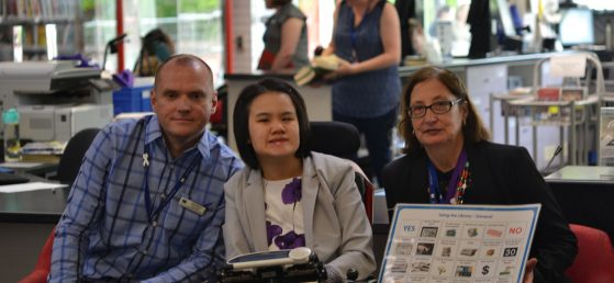 Jason, Lisa, and Janet led an accessible tour of the Glen Waverley library.