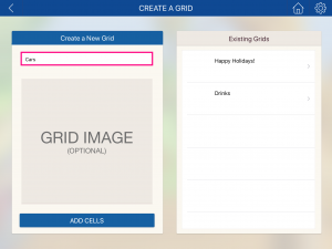 Image of create a grid screen