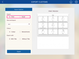 Image of the Export Customs page with printing or emailing options highlighted.