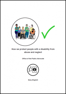 Easy English document of how we protect people with a disability from abuse and neglect