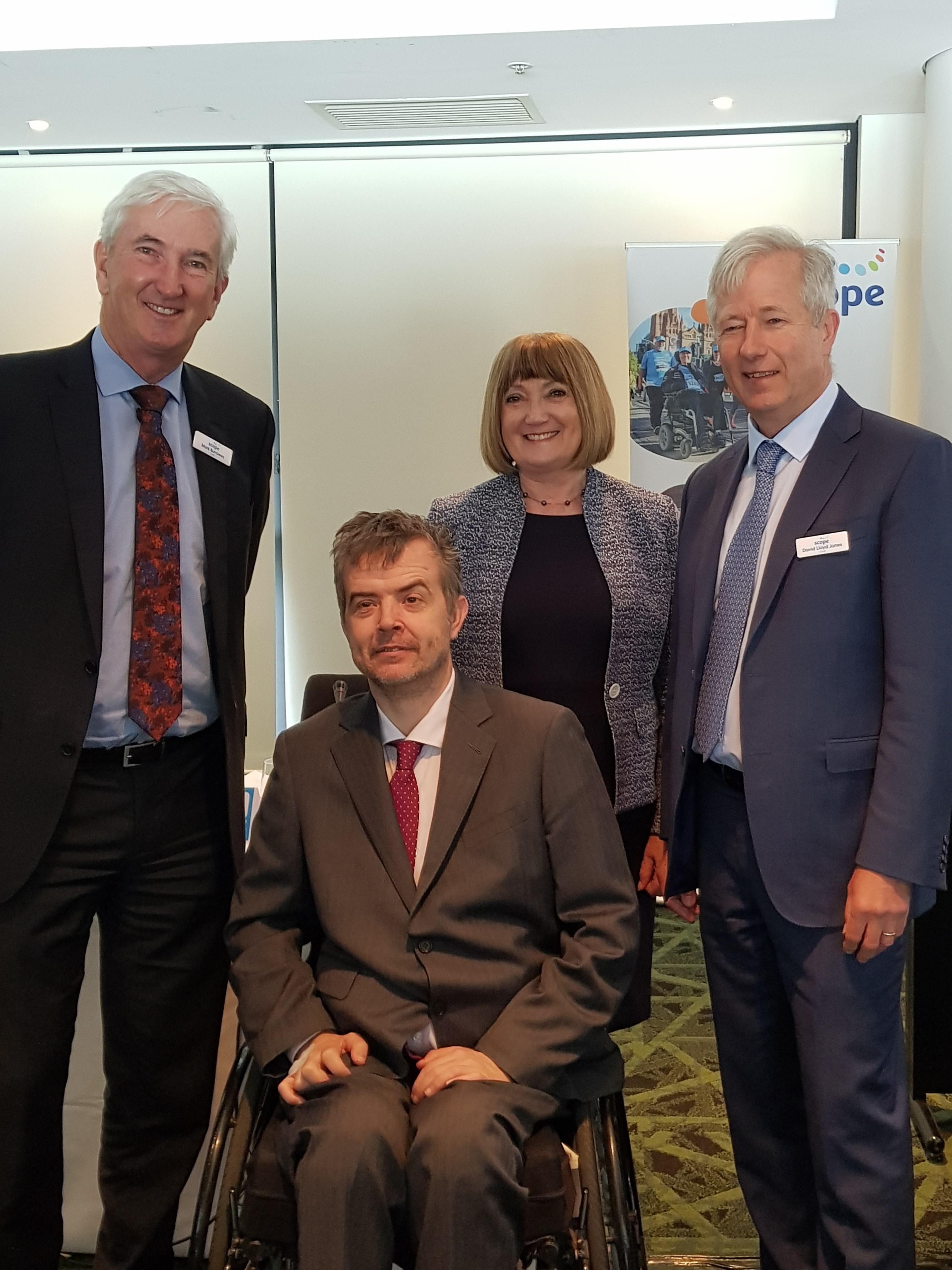 Mark Burrowes, Dr Jennifer Fitzgerald, and David Lloyd Jones with Dr Ben Gauntlett, Disability Discrimination Commissioner at Scope AGM 2019